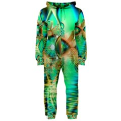 Golden Teal Peacock, Abstract Copper Crystal Hooded Jumpsuit (ladies)
