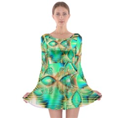 Golden Teal Peacock, Abstract Copper Crystal Long Sleeve Skater Dress