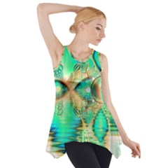 Golden Teal Peacock, Abstract Copper Crystal Side Drop Tank Tunic