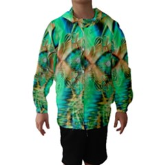 Golden Teal Peacock, Abstract Copper Crystal Hooded Wind Breaker (kids)
