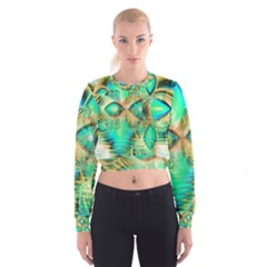 Golden Teal Peacock, Abstract Copper Crystal Women s Cropped Sweatshirt
