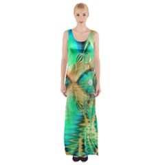 Golden Teal Peacock, Abstract Copper Crystal Maxi Thigh Split Dress