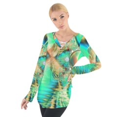 Golden Teal Peacock, Abstract Copper Crystal Women s Tie Up Tee
