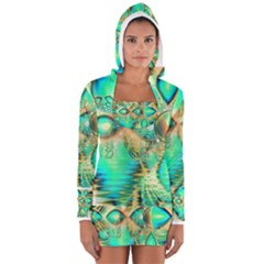 Golden Teal Peacock, Abstract Copper Crystal Women s Long Sleeve Hooded T-shirt