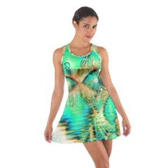 Golden Teal Peacock, Abstract Copper Crystal Racerback Dresses