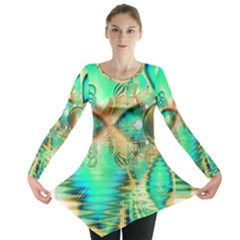 Golden Teal Peacock, Abstract Copper Crystal Long Sleeve Tunic