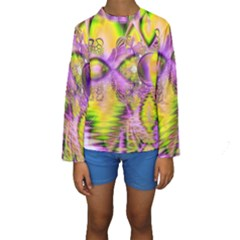 Golden Violet Crystal Heart Of Fire, Abstract Kid s Long Sleeve Swimwear