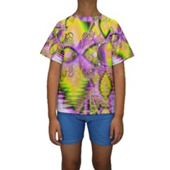 Golden Violet Crystal Heart Of Fire, Abstract Kid s Short Sleeve Swimwear