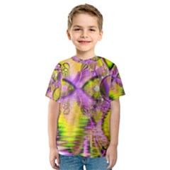 Golden Violet Crystal Heart Of Fire, Abstract Kid s Sport Mesh Tee