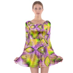 Golden Violet Crystal Heart Of Fire, Abstract Long Sleeve Skater Dress