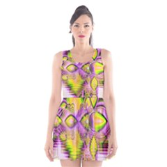 Golden Violet Crystal Heart Of Fire, Abstract Scoop Neck Skater Dress