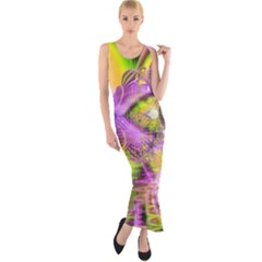 Golden Violet Crystal Heart Of Fire, Abstract Fitted Maxi Dress