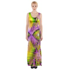 Golden Violet Crystal Heart Of Fire, Abstract Maxi Thigh Split Dress