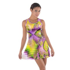 Golden Violet Crystal Heart Of Fire, Abstract Racerback Dresses