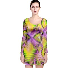 Golden Violet Crystal Heart Of Fire, Abstract Long Sleeve Velvet Bodycon Dress