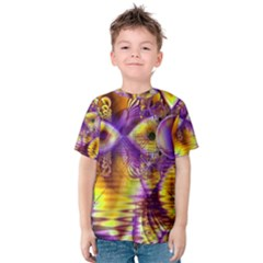 Golden Violet Crystal Palace, Abstract Cosmic Explosion Kid s Cotton Tee