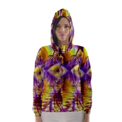 Golden Violet Crystal Palace, Abstract Cosmic Explosion Hooded Wind Breaker (women)