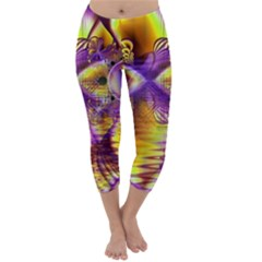 Golden Violet Crystal Palace, Abstract Cosmic Explosion Capri Winter Leggings