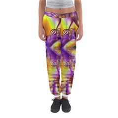 Golden Violet Crystal Palace, Abstract Cosmic Explosion Women s Jogger Sweatpants