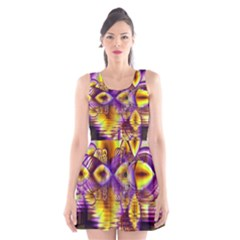 Golden Violet Crystal Palace, Abstract Cosmic Explosion Scoop Neck Skater Dress