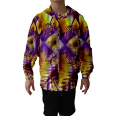 Golden Violet Crystal Palace, Abstract Cosmic Explosion Hooded Wind Breaker (Kids)