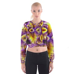 Golden Violet Crystal Palace, Abstract Cosmic Explosion Women s Cropped Sweatshirt