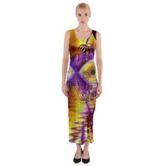 Golden Violet Crystal Palace, Abstract Cosmic Explosion Fitted Maxi Dress