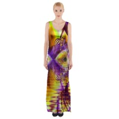 Golden Violet Crystal Palace, Abstract Cosmic Explosion Maxi Thigh Split Dress