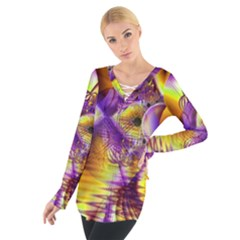 Golden Violet Crystal Palace, Abstract Cosmic Explosion Women s Tie Up Tee
