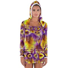 Golden Violet Crystal Palace, Abstract Cosmic Explosion Women s Long Sleeve Hooded T-shirt