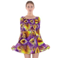Golden Violet Crystal Palace, Abstract Cosmic Explosion Long Sleeve Velvet Skater Dress