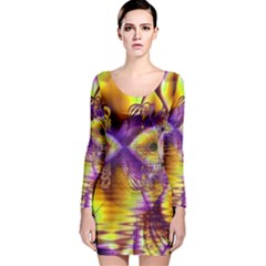 Golden Violet Crystal Palace, Abstract Cosmic Explosion Long Sleeve Velvet Bodycon Dress