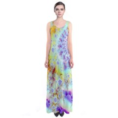 Golden Violet Sea Shells, Abstract Ocean Full Print Maxi Dress