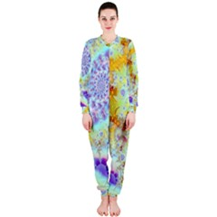 Golden Violet Sea Shells, Abstract Ocean Onepiece Jumpsuit (ladies)