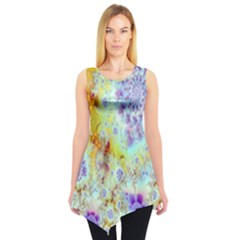 Golden Violet Sea Shells, Abstract Ocean Sleeveless Tunic
