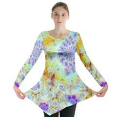 Golden Violet Sea Shells, Abstract Ocean Long Sleeve Tunic