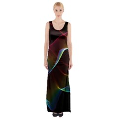 Imagine, Through The Abstract Rainbow Veil Maxi Thigh Split Dress