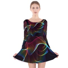 Imagine, Through The Abstract Rainbow Veil Long Sleeve Velvet Skater Dress