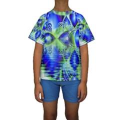 Irish Dream Under Abstract Cobalt Blue Skies Kid s Short Sleeve Swimwear