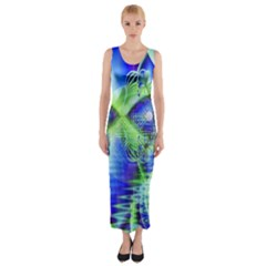 Irish Dream Under Abstract Cobalt Blue Skies Fitted Maxi Dress