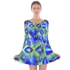 Irish Dream Under Abstract Cobalt Blue Skies Long Sleeve Velvet Skater Dress