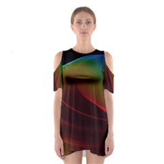 Liquid Rainbow, Abstract Wave Of Cosmic Energy  Cutout Shoulder Dress