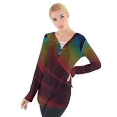 Liquid Rainbow, Abstract Wave Of Cosmic Energy  Women s Tie Up Tee