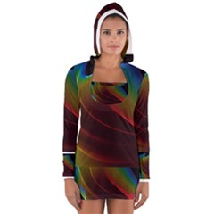 Liquid Rainbow, Abstract Wave Of Cosmic Energy  Women s Long Sleeve Hooded T-shirt