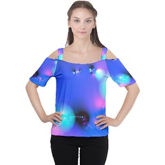 Love In Action, Pink, Purple, Blue Heartbeat 10000x7500 Women s Cutout Shoulder Tee
