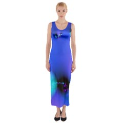 Love In Action, Pink, Purple, Blue Heartbeat 10000x7500 Fitted Maxi Dress