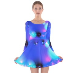 Love In Action, Pink, Purple, Blue Heartbeat 10000x7500 Long Sleeve Velvet Skater Dress