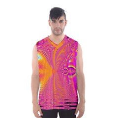 Magenta Boardwalk Carnival, Abstract Ocean Shimmer Men s Basketball Tank Top