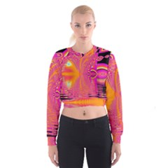 Magenta Boardwalk Carnival, Abstract Ocean Shimmer Women s Cropped Sweatshirt