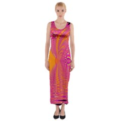 Magenta Boardwalk Carnival, Abstract Ocean Shimmer Fitted Maxi Dress